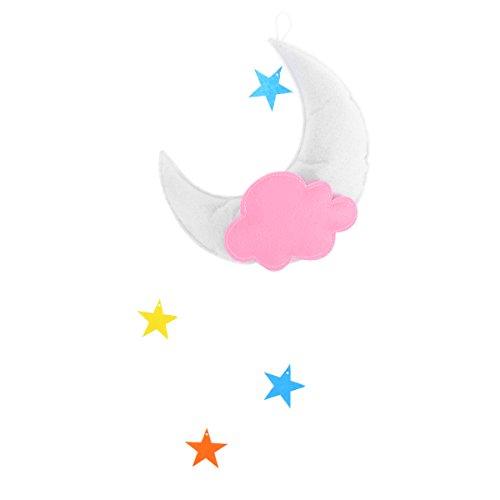 oulii Kinderzimmer Deckenleuchte Mobile Wolken Mond Sterne Deckenleuchte zum Aufhängen Dekorationen für Baby Dusche Baby Kinderzimmer (weiß Mond orange cloud Multicolor Sterne) (Und Mond-baby-dusche Sterne)