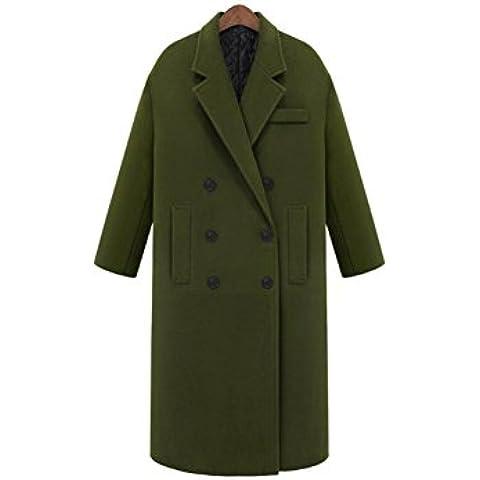ZZHH Sección larga doble botonadura abrigo lana ropa exterior femenina . green . xl