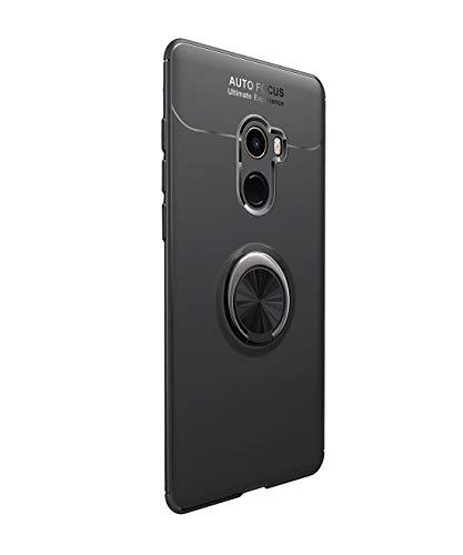 Funda Xiaomi Mi Mix 2 Carcasa Delgada Silicona Suave Negro TPU Case Anti-Arañazos, con Anillo Grip Kickstand y Soporte la función de Montaje Teléfono Case para Mi Mix 2 (Xiaomi Mi Mix 2, Negro)