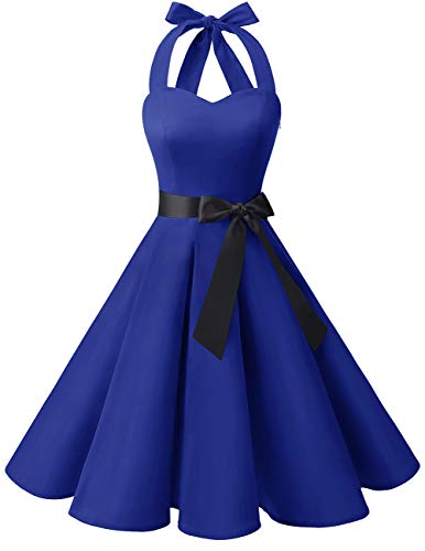 bridesmay 1950er Retro Rockabilly Neckholder Cocktail Abendkleid Petticoat Faltenrock Royal Blue - Retro Rocker Kostüm