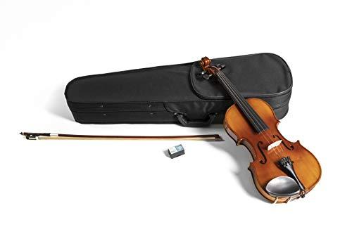 GEWApure Violino Set HW in Legno Massiccio 4/4 Pronto per Giocare con Mentoniera, Cordiera con Tiracantini, Archetto, Colofonia, Astuccio con Tracolla