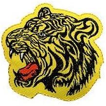 Parches - tigre animal - amarillo - 7,2x7,6cm - termoadhesivos bordados aplique para ropa