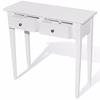 Contemporary Dressing Console Table Pine Wood White Paint Finish 2 Roll Drawer \ Furniture Home House Cabinet Desk Shelf Stand Dresser Seat Dining Living Room Chairs Table Contemporary Stylish Unique Ottoman Stuff Parents Kids Outdoor Indoor Sleeping Besi