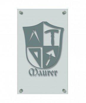 werker-Zeichen, edle Acryl-Kunststoff-Platte mit Beschriftung - Maurer - in gold, silber, schwarz oder weiß - 309412 Farbe silber (Weiß Und Gold-kunststoff-platten)