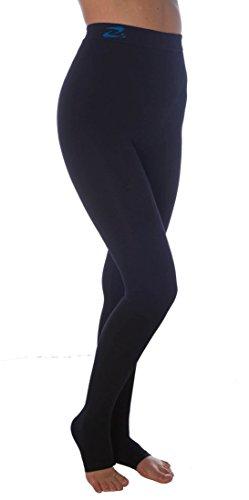 Lange Strumpfhose, schlank machende Kompressions-Leggings (25-30 mmHg) Unterstützung Lipödem-Lymphödem POTS (Schwarz, L) (Mmhg Unterstützung 30)