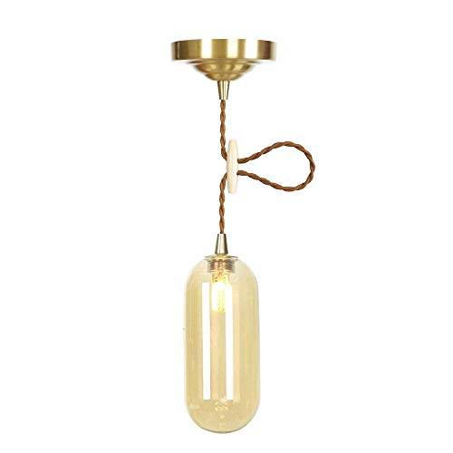 Nordic Modern Simple Glass Small Pendant Lights Single Head E27 LED Hanging Lights Personality Decorative Lighting for Living Room Bedroom Cafe,Amber -