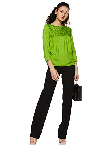Styleville.in Women's Plain Regular Fit Top (STSF401632-Green-M)