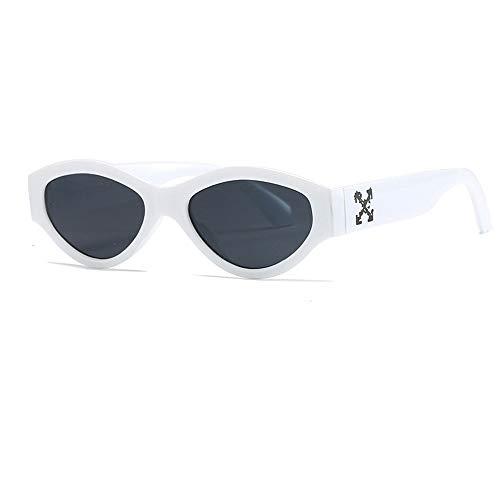 Gxf Cat Eye Sonnenbrille Großhandel Mode transparente Box Männer und Frauen Straße Schießen Outdoor-Sonnenbrille JF (Color : White, Size : One Size)