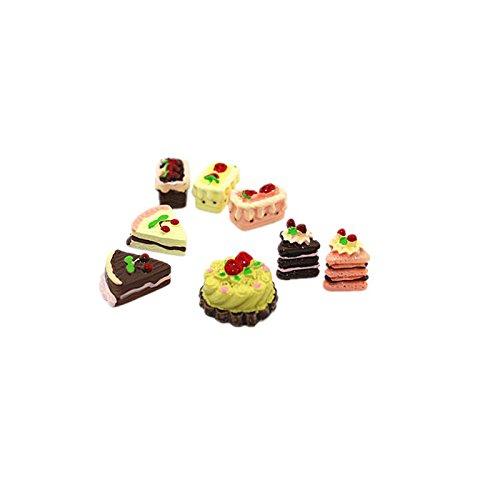 Mini Puppe Haus Kuchen Miniaturen Essen Lovely Dessert Obst Kuchen Ornament (8 Stück)