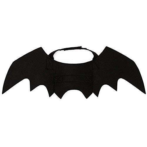JLFDHR HOT Halloween Cat Kostüm Anzug Kürbisse Kragen Glocke Black Bat Wings für Puppy Dog Cat - Hot Dog Cat Kostüm