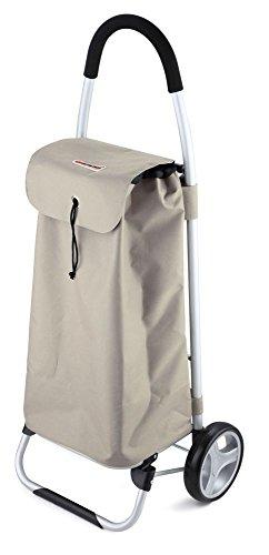 Einkaufstrolley XXL mit Standfuß in grau 40 Liter (Einkaufswagen, Trolley, Einkaufsroller, Einkaufs-Tasche mit Rollen, Polyester)