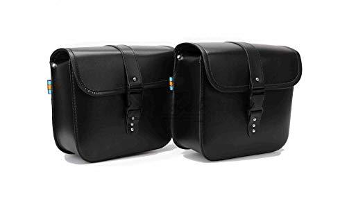 LIDAUTO 2PCS Motorrad-Sattelstamm Motorräder Seitenständer Taschen Gepäckträger-Boxen hinten PU Leder Hohe Kapazität Für Harley,Black