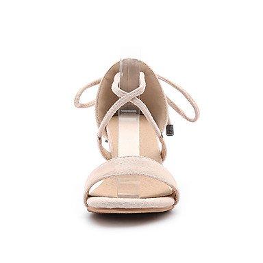 LvYuan Da donna Sandali Comoda Cinturino alla caviglia Finta pelle Estate Casual Formale Comoda Cinturino alla caviglia Nero Beige Rosso7,5 - Black
