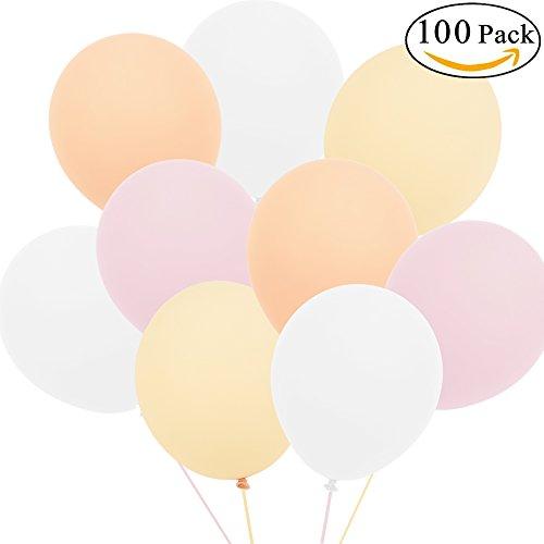 Anokay Luftballons rosa weiß champagne aprikose Hochzeitsdeko Vintage für Helium Balloon geeignet - Ballon als Hochzeit Geburtstag Babyshower Girl Party Deko Luftballon - 100 Stück Ballons in 4 Farben (Luftballon)