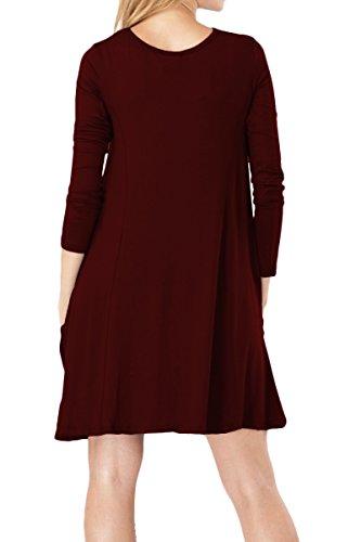 YMING Damen Casual Blusenkeid Lose Tunika Casual T-Shirt Kleid Kurzarm Strickkleid Mit Taschen-Bordeaux