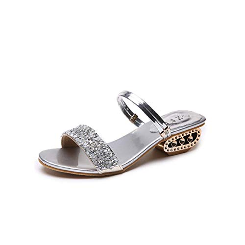 Woman Sandals Shoes 2019 Summer Sandals Peep Toe Slides Slip On Fashion Women Shoes Crystal Casual Ladies Shoes Comfort Slippers Silver 8.5 -