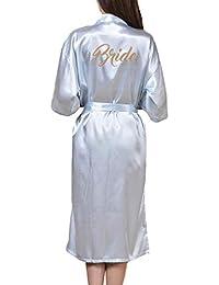 WEIMEITE Bata Larga Nupcial para Mujer Bata de Kimono para Novia Boda Fiesta Bata