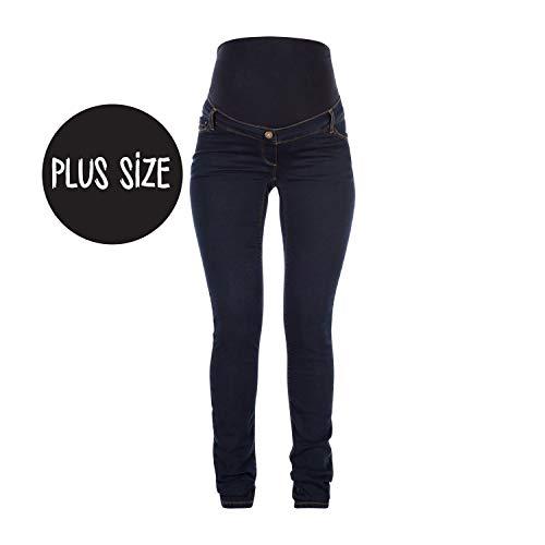 Love2wait Damen Jeans Sophia Plus Umstandsjeans, Blau (Dark Wash 022), W44/L34 (Herstellergröße: 44) - Pocket Maternity Jeans Boot Cut