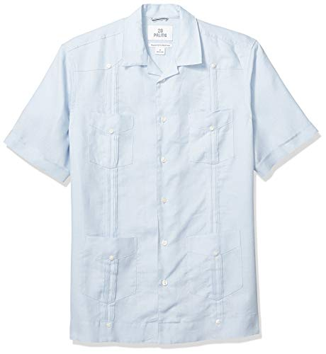 28 Palms Relaxed-Fit Short-Sleeve 100% Linen Pleated Guayabera button-down-shirts, light blue, US M (EU M) -
