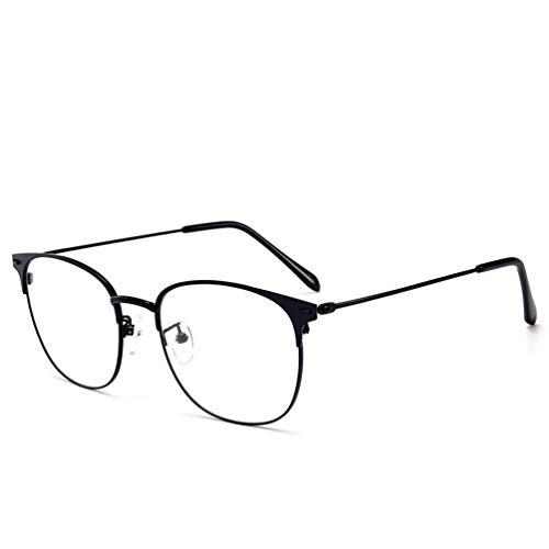 Entlastung Von Augen (WLLIT Flache Gläser,Entlastung der Augen vor Müdigkeit,Anti-Blauer Metallflacher Spiegel-Retro- Glasrahmen,Computer Lesen Eyewear-C-3)