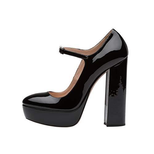 Kopf Dicker Absatz Einzelne Schuhe Wasserdichte Plattform Wellenpunkt Mary Jane Einzelne Schuhe Stabil Hacke Bequeme Schuhe (Absatzhöhe: 13cm), A,46 ()
