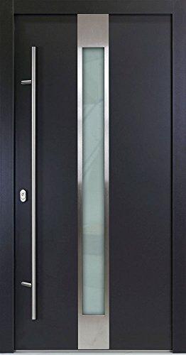 Alu Haustür 05 - 1100x2100, DIN links (von innen), nach innen öffnend, mit Außengriffstange 160cm+ Innendrücker