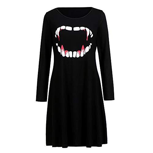 TIFIY Damen Kleid, Halloween Swing Kleid Elegant Faltenrock Kleider Pumpkins Kürbisse Kleid Langarm...