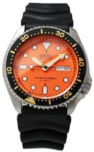 Stainless Steel Automatic Diver Orange Dial Black Rubber Strap