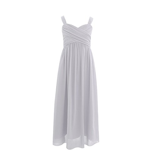 YiZYiF Flower Girls Junior Chiffon A-Line Pleated Dance Prom Wedding Gown Bridesmaid Long Party Dress