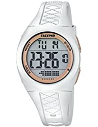 Calypso Unisexe Montre numérique avec écran LCD affichage numérique et sangle en plastique blanc cadran k5668/1