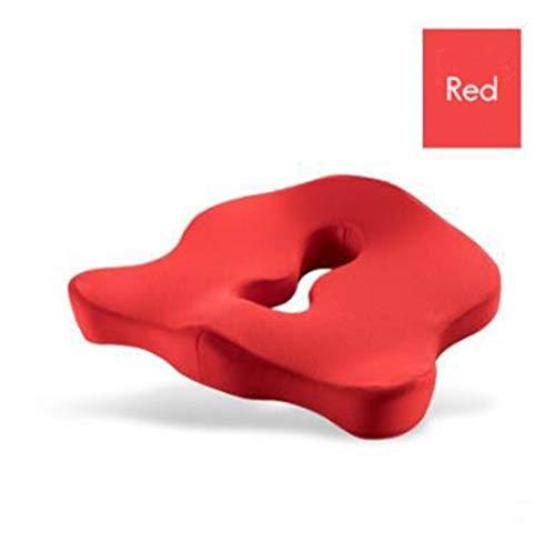 Cuscino di seduta in schiuma di memoria premium coccyx cuscino ortopedico per sedia da ufficio per cuscino per la schiena di scia lenta dolore lombare (color : red, specification : 45x35x8.5cm)