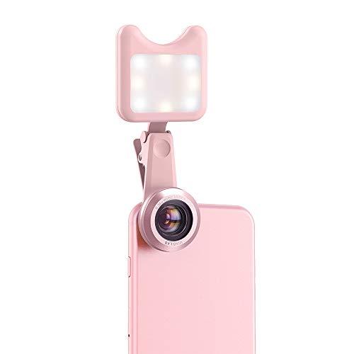 Handys Weitwinkelobjektiv Len Objektiv Kameraobjektiv Kamera APEXEL Mit LED Selfie-Licht Fill-In-Licht 0.36X Weitwinkelobjektiv 15X Makro-Objektiv-Kit für iPhone Samsung-Handys (Pink)