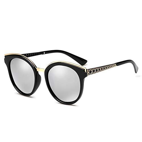 Thirteen Bunte Polarisierte Sonnenbrille Weibliches Rundes Gesicht Großer Rahmen Anti-UV-Sonnenschutz Fahrspiegel, Kann Für Dekorative Reisen Verwendet Werden. (Color : Silver)