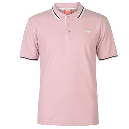 Slazenger Tipped Polo Shirt Mens Short Sleeve Stripe Detail Polo Shirt - Light Pink - XX-Large - Rosa Baumwolle Polo-shirt