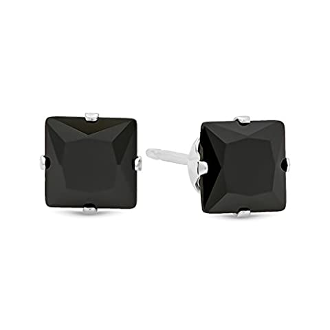 Square Cut Simulated Black Onyx 5mm CZ Sterling Silver Stud Earrings + Cleaning Cloth