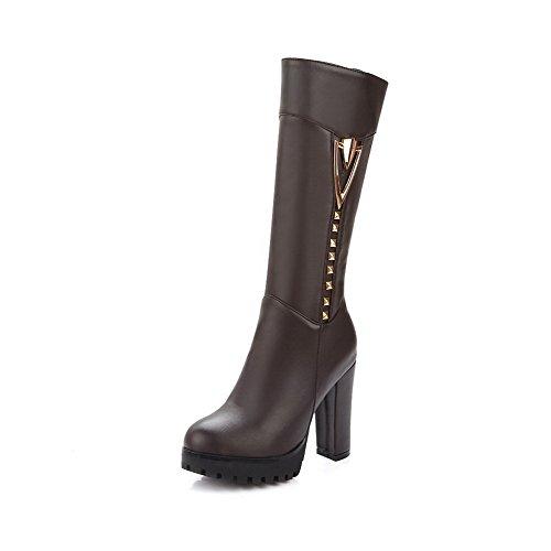 AllhqFashion Damen Hoher Absatz Eingelegt Rund Zehe Weiches Material Stiefel, Schwarz, 36