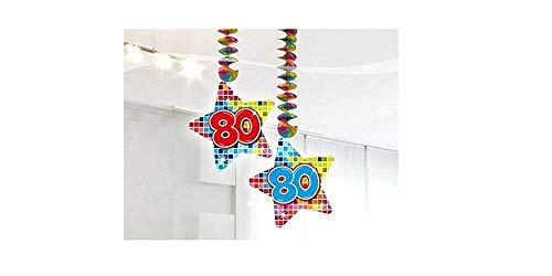 80.Geburtstag Deko Rotorspiralen 2 Stück Hängende Girlande mit Zahl 80 Spiraldeckenhänger bunter Stern mit 80 Dekoration zum 80er Geburtstag Party oder andere Anlässe