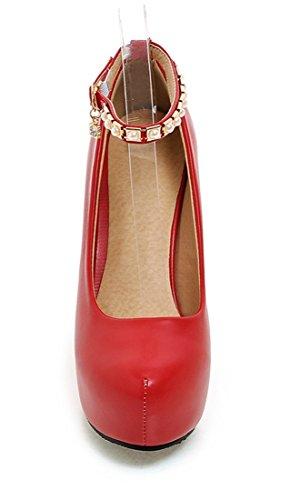 Alto Bombas Sapatos Vermelhas Rodeou Mulheres Mordern Pérolas Elegantes Estiletes Com Salto Tornozelo Plateau Ye cinta Partido pHqFxU
