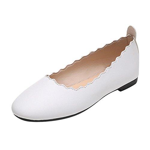 Mee Shoes Damen flach mit Borte bequem Ballettschuhe Weiß