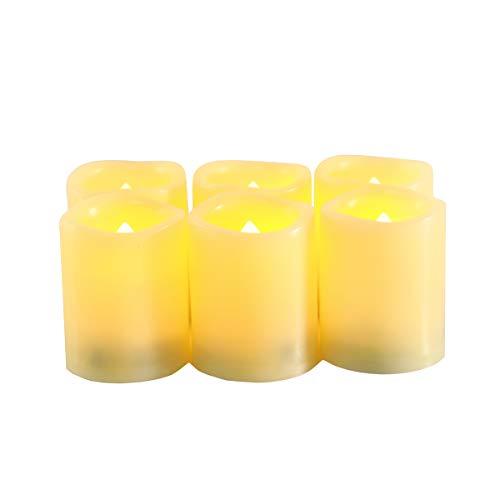 realistisch Flackernde Flammenlose Teelichter elektrische Kerze mit 6 Stunden Timer. 500 Stunden Nonstop Leuchten 6 Stück/Paket ()