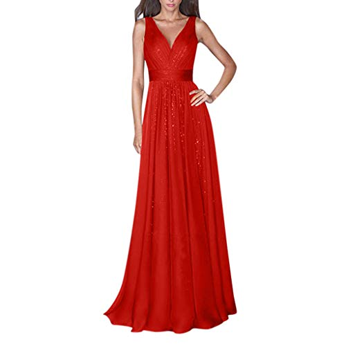 WoWer Damen Abendkleid Sommer Formal Party Kleid Elegant V-Ausschnitt Langes Kleid Club Pailletten Shiny Open Back Mesh Taille Big Swing Abendkleid Cocktail Party Hochzeit Brautjungfer Kleid - Open Back Pailletten-kleid