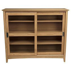 Stockholm Display Cabinet Oak Colour Wood/Veneer Mix 4 Adjustable Shelves by Ideal Products