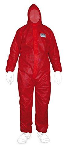 Traje de protección desechable Enviro Dress SMS Clase III, tipo 5y 6,con elásticos de goma para un buen ajuste rojo XXL