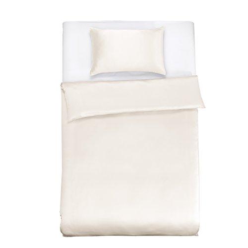 LilySilk Seide Bettwäsche-Set 2 teilig Bettbezug 135x200cm Kissenbezug 60x80cm Seide Unifarben 19 Momme-Elfenbein Verpackung MEHRWEG (Seide Bettwäsche-sets)