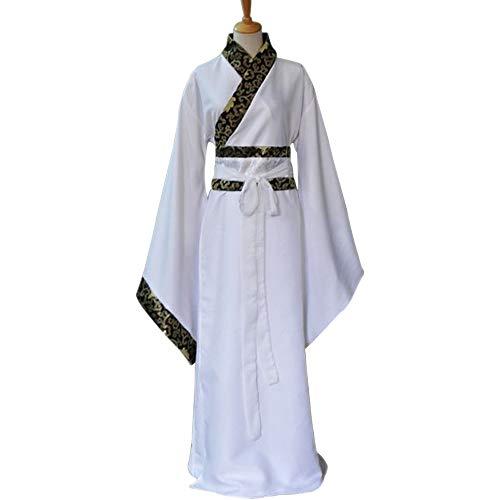 Für Kostüm Asiatische Prinzessin Erwachsene - DAZISEN Herren Hanfu - Chinesische Traditionelle Kleidung Tang Anzug Minister Cosplay Performances Kostüm, Weiß/3XL