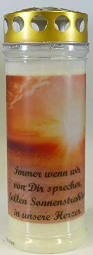 Grablichtkerze Sonnenstrahlen, Immer wenn wir. Brenndauer ca. 7 Tage, 20x7cm - 3803 - Grabkerze, Ttrauerkerze mit Motiv und Spruch - Qualitäts-Grablicht mit Deckel als Wetterschutz