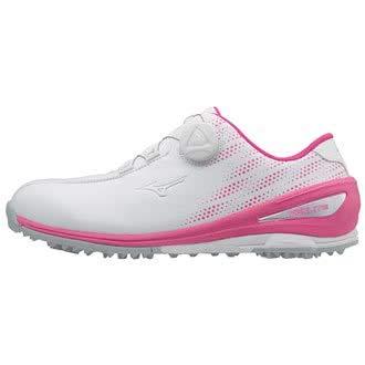 Mizuno 2018 NEXLITE 004 BOA Chaussures de Golf Imperméables pour Femmes - White/Pink 5UK