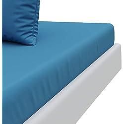 """Sábana Bajera Niño Azul Cerúleo (90 x 190 cm) Dreamzie - 100% Microfibra – Fabricado en Europa Certificación OEKO TEX - Grandes Solapas - 4 esquinas """"Easy On"""" - Tacto Ultra Suave - Sin Pliegues"""