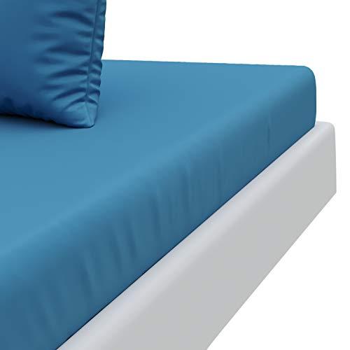 """Dreamzie sotto con angoli matrimoniale blu ceruleo (160 x 200 cm) 100% microfibra – prodotto in europa certificazione oeko tex – lembi grandi – 4 angoli """"easy-on"""" – morbido al tatto – senza pieghe"""
