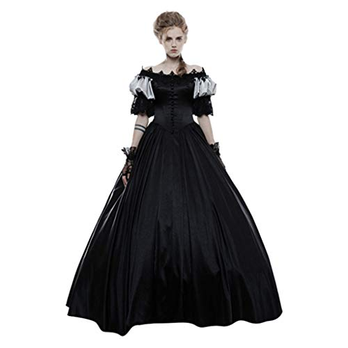 CUEYU Gothic Victorian Dress Kostüm, Damen Retro Mittelalter Renaissance Kleider Lady Satin Masquerade Dress
